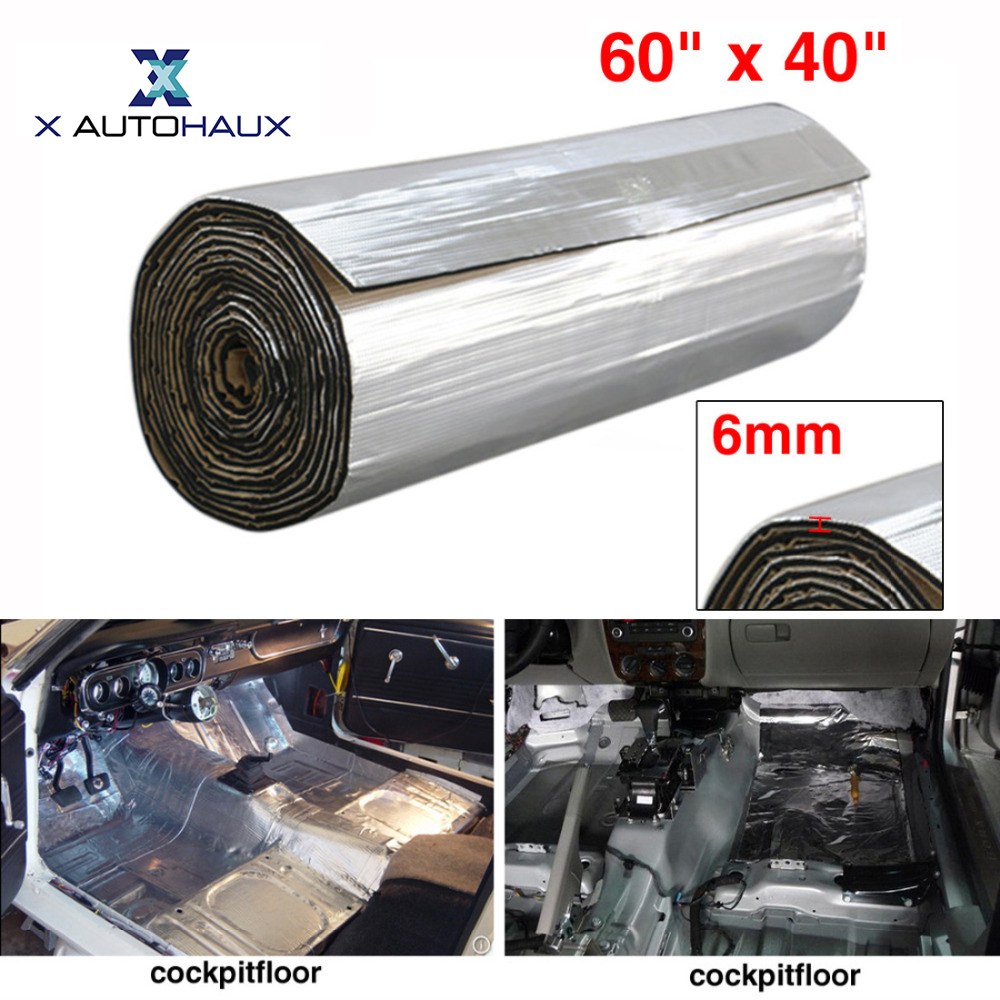X AUTOHAUX 6mm Thick 236mil 16.36sqft 60x40 152 x 100cm Aluminum Foil Car Sound Deadener Heat Insulation Underlay Shield Mat
