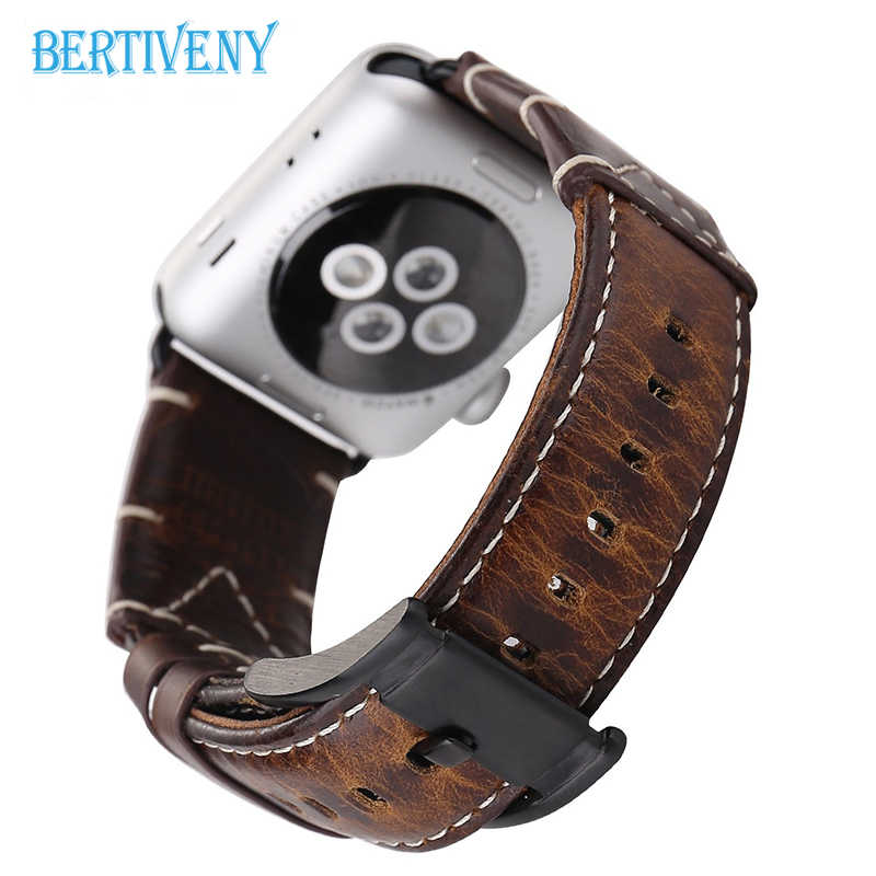Business Strap for Apple Watch band Genuine Leather 42mm/38mm Crazy Horse Handmade Replacement Wrist Bracelet for iwatch 4 3 2 1