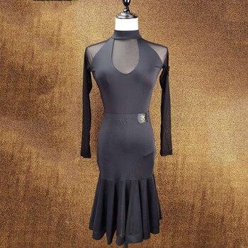 Latin Dance Dress Women Black U Type Dress Lady Tango Ballroom Dance Flamengo Tango Salsa Dress Competitive Dance Dress BL1374
