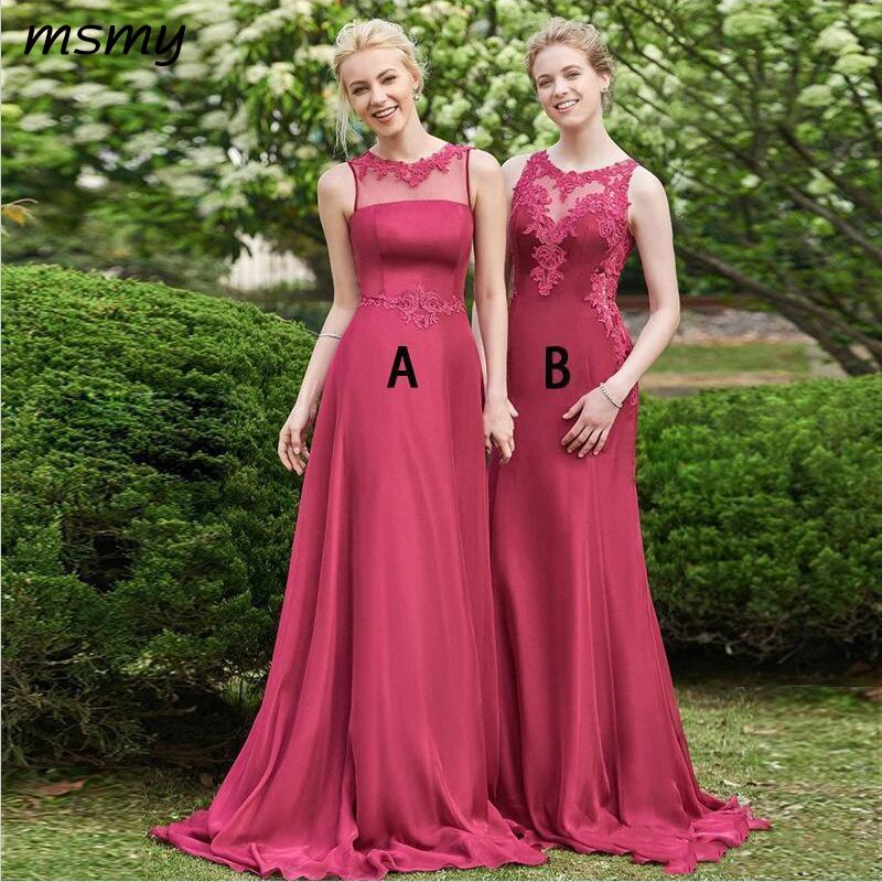 A Line Chiffon   Bridesmaids     Dresses   2019 Sheer Neck Appliques Pleats Long Wedding Guest Party Gowns Custom Made