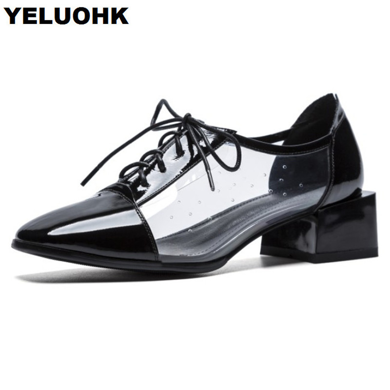 New Autumn Transparent Shoes Women Low Heel Square Toe Oxford Shoes For Women High Heels Lace Up Patent Leather Shoes europe america fashion star cutout lace up high heel shoes for women square toe platform wedges brogue oxford casual shoes us 10