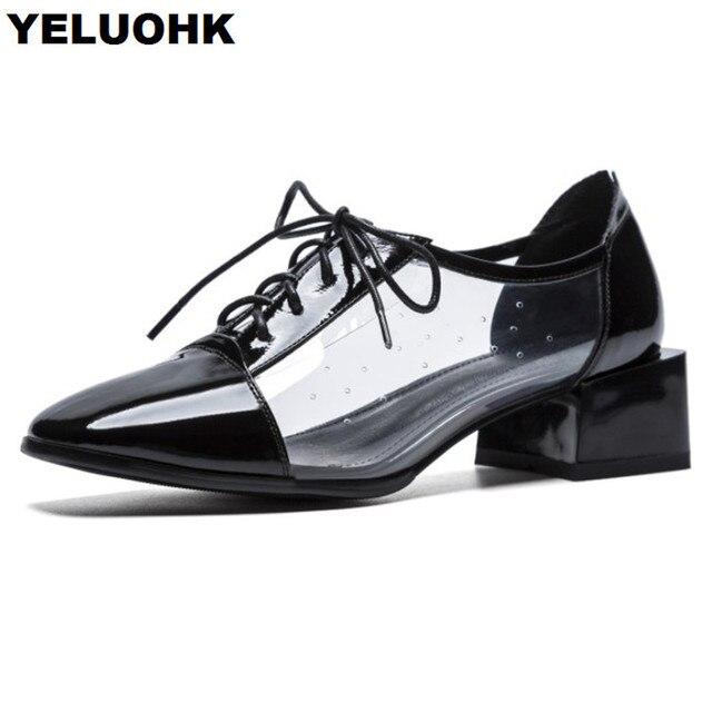 37fbd75e491ce New Autumn Transparent Shoes Women Low Heel Square Toe Oxford Shoes For Women  High Heels Lace