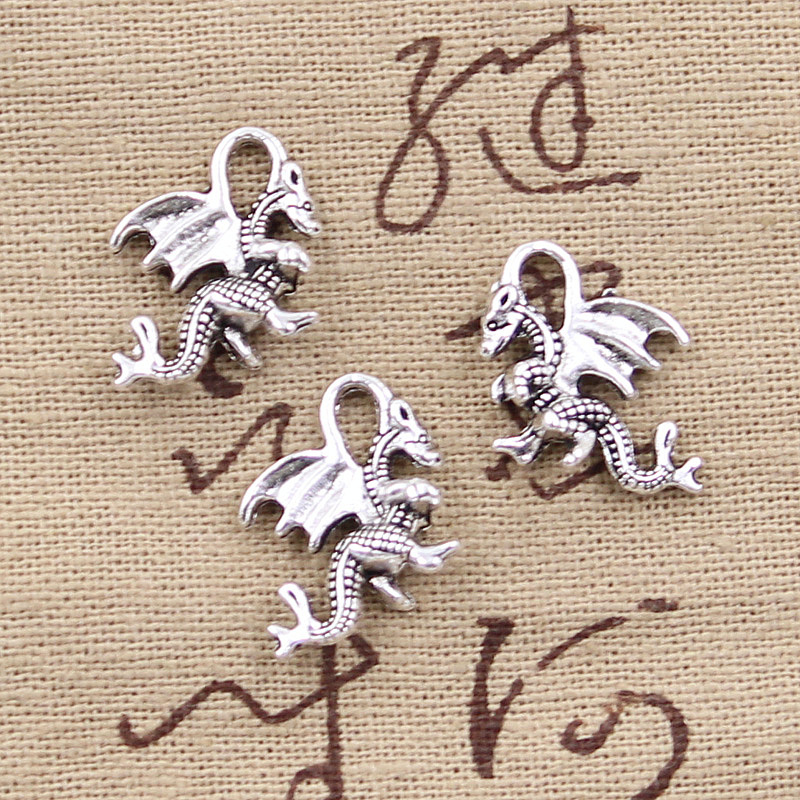 Hroryn 10pcs Charms Dragon 21x14mm Antique Making Pendant