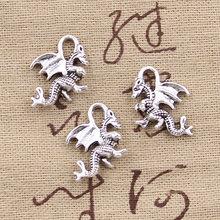 15 pçs encantos dragão 21x14mm antigo fazer pingente apto, vintage tibetano bronze prata cor, diy artesanal jóias