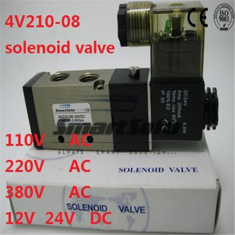 Free shipping single coil solenoid valve 4V210-08 Port 1/4 BSP 24V DC 5/2 way control valve with Plug type red LED light 4a210 08 5 way 2 position airtac air control solenoid valve 1 4 bsp 5 2 type