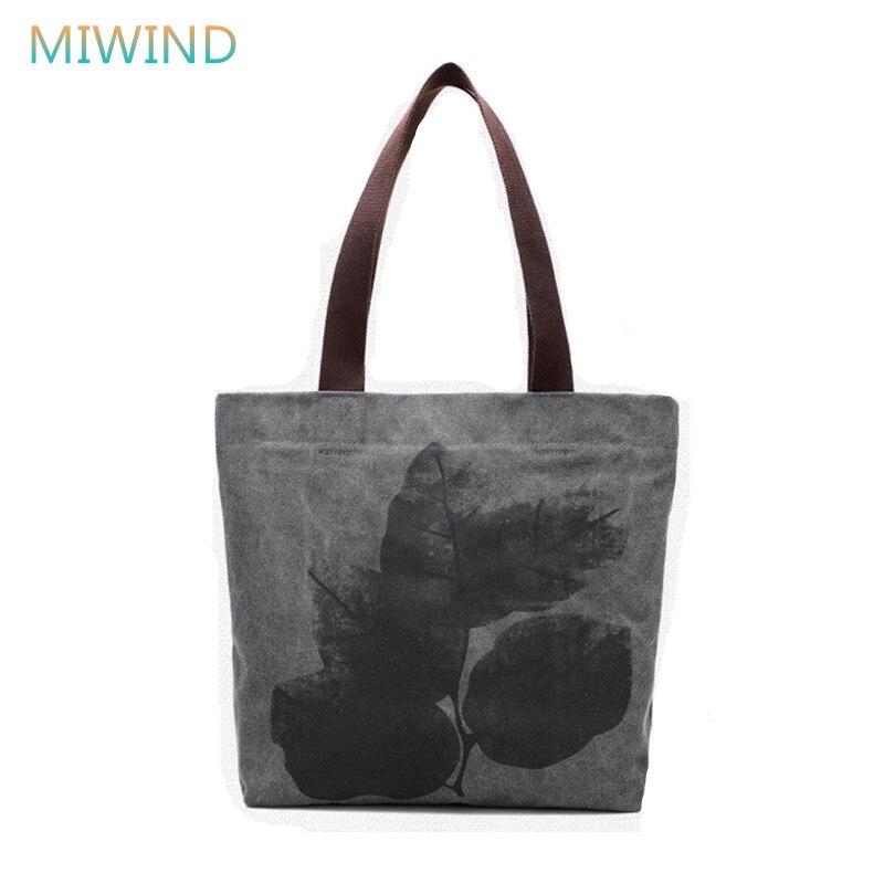 MIWIND Canvas Women Handbag Designer Vintage Printing Shoulder Bags High Quality Female Tote Shopping Bag Ladies Bolsas CB293