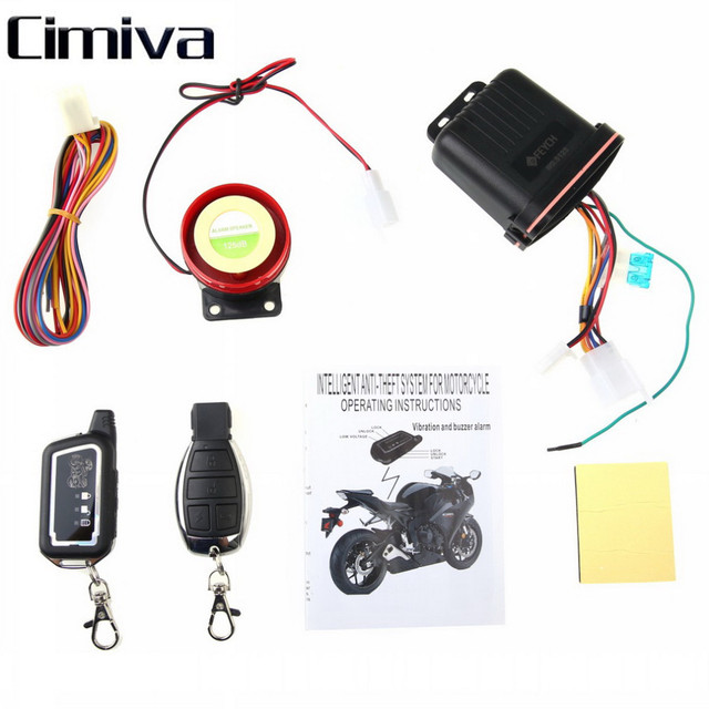 Cimiva 2 Way Motorcycle Alarm Security System Motorbike 2 Way Alarm Keyless Entry Anti-theft Vibration Sensor LCD Remote Control