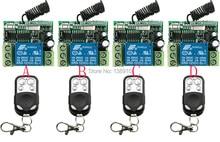 Ventas calientes DC12V 10A 1 Channe RF sistema de control remoto inalámbrico teleswitch 4 X transmisor receptor de 4x, 315/433 MHZ