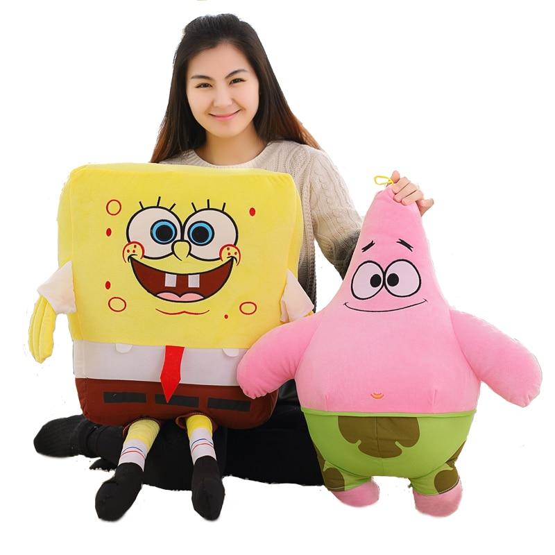 Hot 1pc 40cm-100cm Cartoon Spongebob Patrick Star Plush Animals Toys Plush Spongebob Pillow Sofa Cushion Birthday Gifts Kids Toy