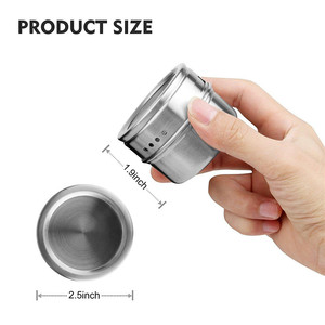 Image 5 - 12pcs/set Clear Lid Magnetic Spice Tin Jar Stainless Steel Spice Sauce Storage Container Jars Kitchen Condiment Holder Housewa
