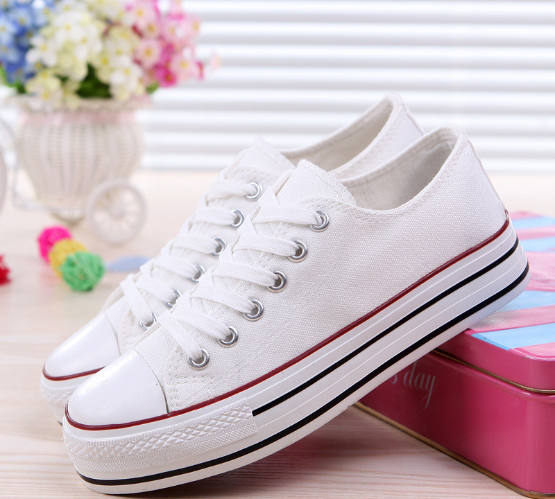 Detail Feedback Questions about Canvas Sneakers Women Shoes High help White  Color Slip On Flats Round Toe Solid Platform Casual Cross tied Female  Student ... b436e251cfc2