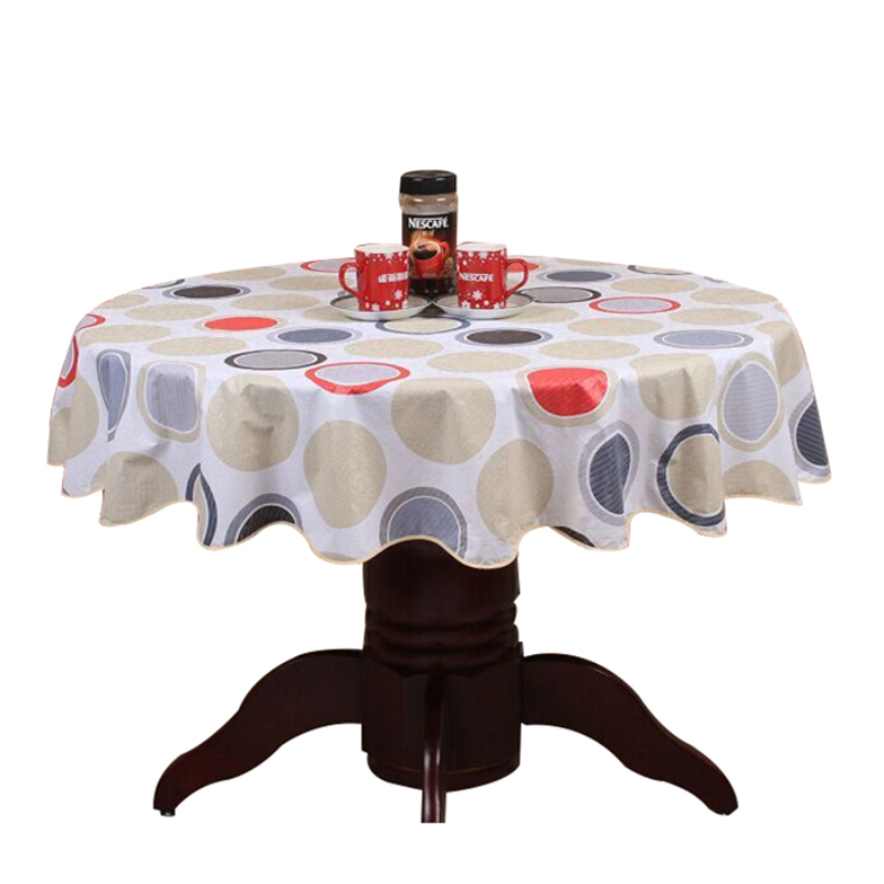Pastoral style wave table cloth  anti hot PVC plastic for Round home hotel cover decoration wate