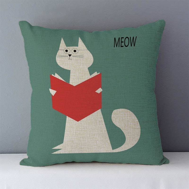 HTB1F2mjXjzuK1Rjy0Fpq6yEpFXaT Selected Couch cushion Cartoon cat printed quality cotton linen home decorative pillows kids bedroom Decor pillowcase wholesale