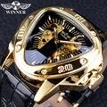 Победитель стимпанк мода треугольник золотой скелет Move для мужчин t таинственный мужчин автоматические механические наручные часы лучший ...