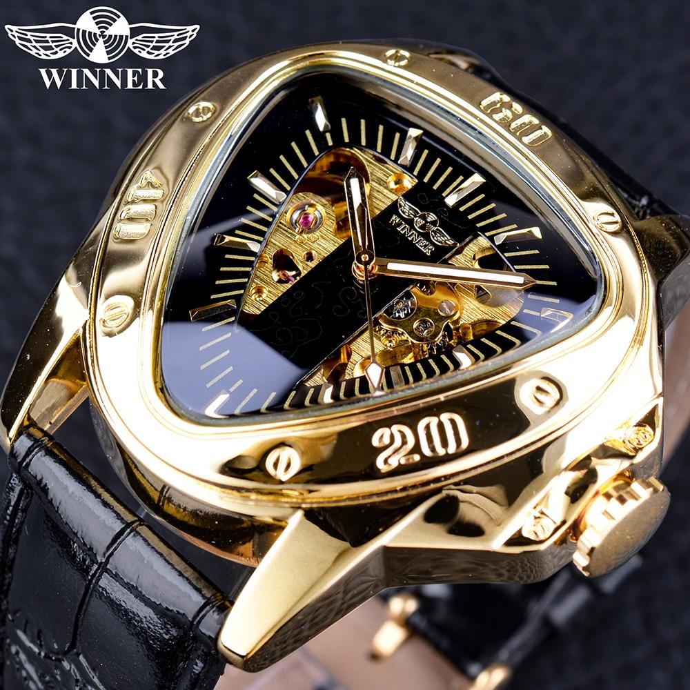 ebfc50e5724 Vencedor Steampunk Moda Misterioso Triângulo Movimento Esqueleto de Ouro  Dos Homens Automática relógio de Pulso Mecânico Relógios Top Marca de Luxo