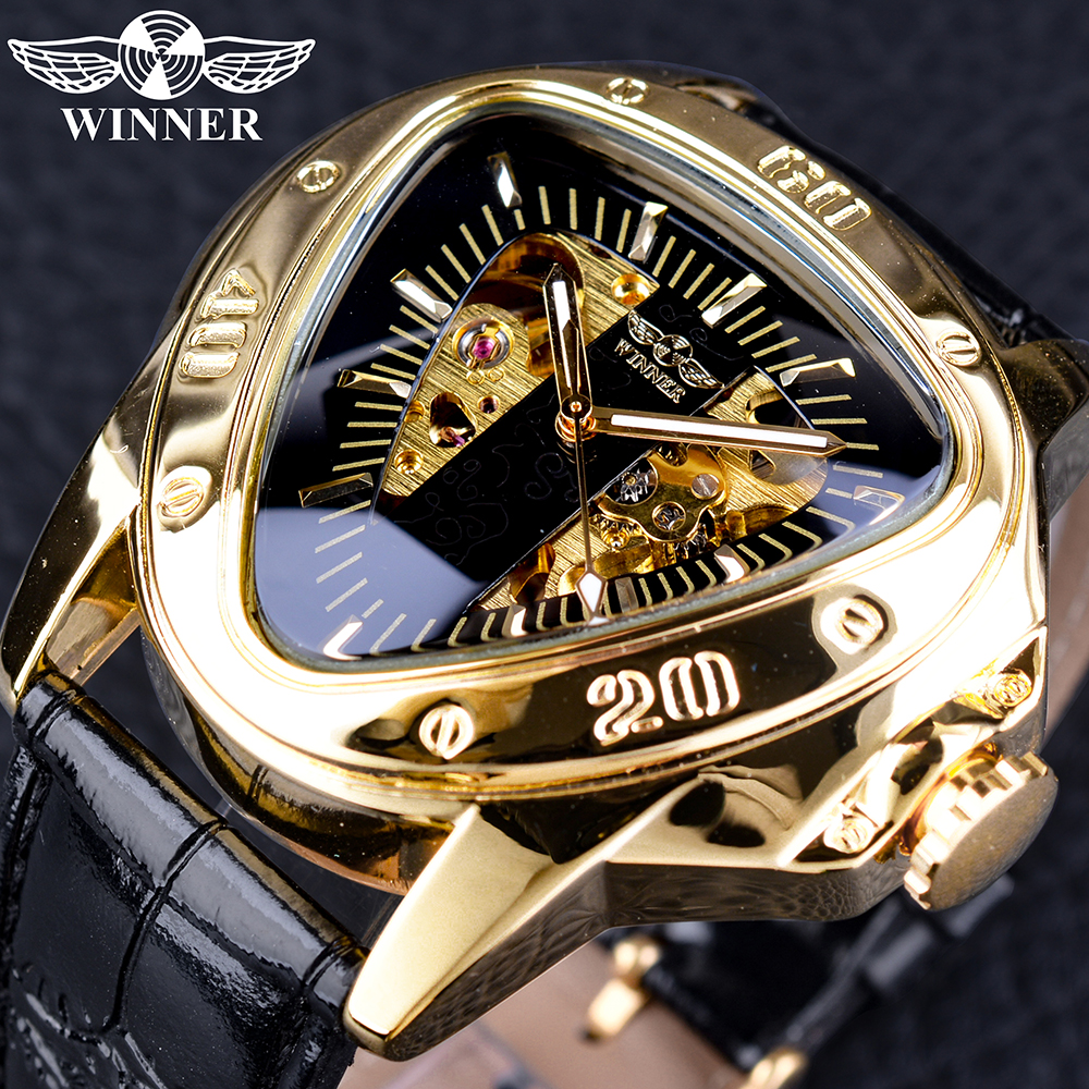 Winner Steampunk Fashion Triangle Golden Skeleton Movement Mysterious Men Automatic Mechanical Wrist Watches Top Brand Luxury winner mens watches top brand luxury leather strap skeleton skull auto mechanical fashion steampunk wrist watch men gift box