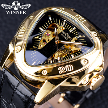 цена на Winner Steampunk Fashion Triangle Golden Skeleton Movement Mysterious Men Automatic Mechanical Wrist Watches Top Brand Luxury