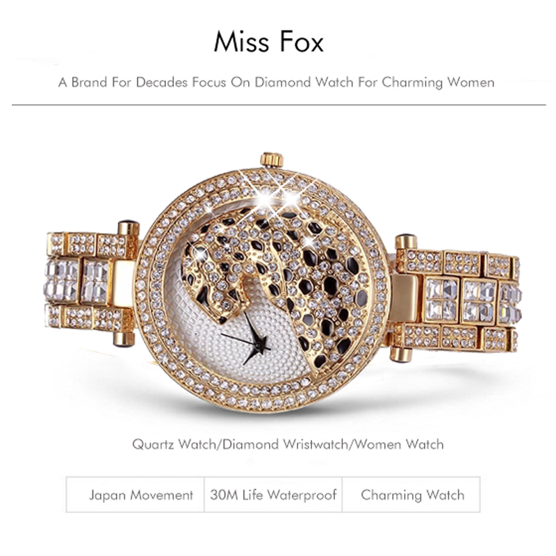 MISSFOX 30m Life Waterproof Gold Women Quartz Watch Fashion Bling Casual Ladies Watches Crystal Diamond Leopard for Women Clock (10)