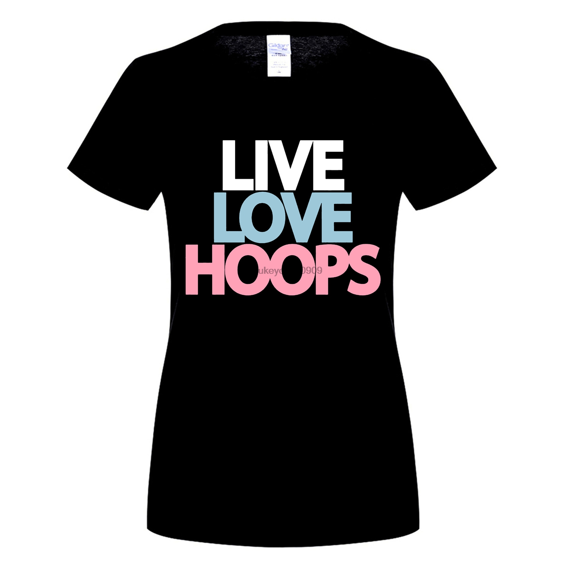 GILDAN Basketballer Live Love Hoops s T-Shirt Summer Funny Print Fe T-Shirts Slim Funny Fashion Cotton Casual Shirt