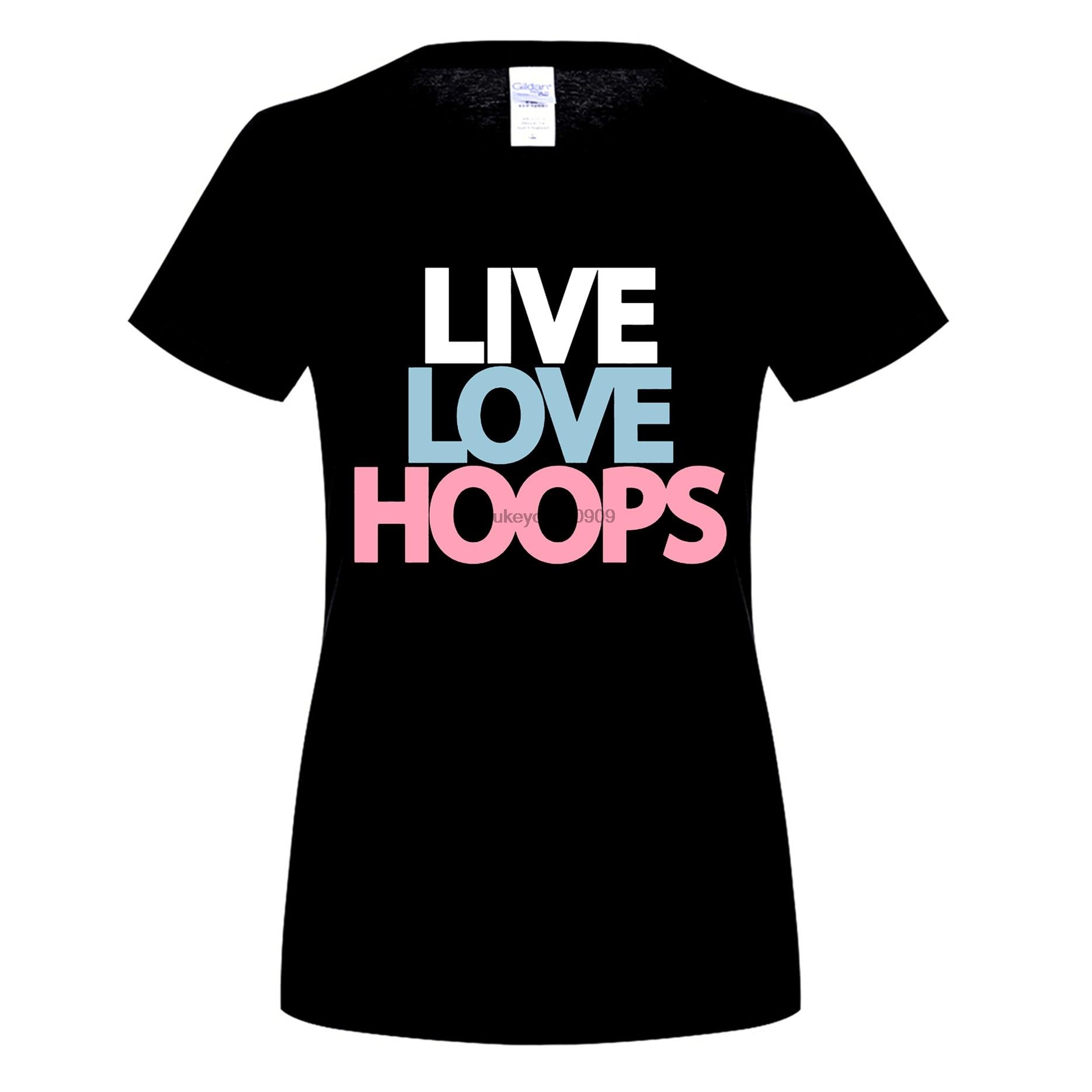 GILDAN Basketballer Live Love Hoops s T-Shirt Summer Funny Print Fe T-Shirts Slim Funny Fashion Cotton Casual Shirt