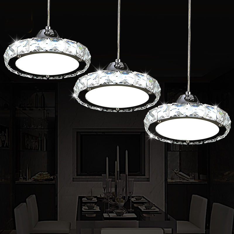 Restaurant chandelier crystal lamp three simple modern table lamp round <font><b>LED</b></font> kitchen <font><b>bar</b></font> dining room dining chandeliers