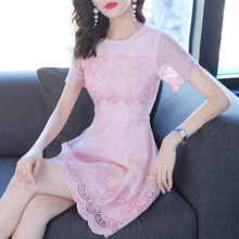 Dress Women Summer 2019 New Women Fashion Round neck Short Sleeve Lady A Line Short Pink Dress Above The Knees S-L stylish round neck long sleeve voile spliced a line women s dress