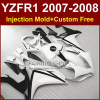Classic white motorcycle fairings for YAMAHA YZFR1 2007 2008 Injection mold bodyworks YZF R1 YZF1000 body parts YZF 1000 07 08