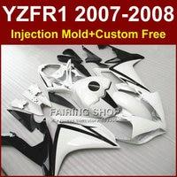 Classique blanc moto carénages pour YAMAHA YZFR1 2007 2008 Injection moule carrosseries YZF R1 YZF1000 parties du corps YZF 1000 07 08