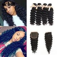 Debut Hair Deep Wave Bundles With Closure Mongolian Hair Weave 28 Inch 3/4 Bundles WIth Closure Non Remy Human Hair Extension