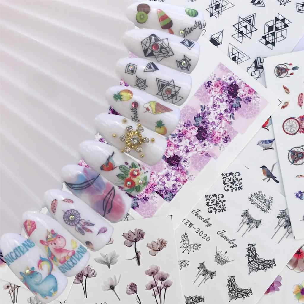 LCJ 10 Styles For Choose Flower Bird Negative Space Necklace Pattern Nail Art Water Transfer Sticker Decals DIY Tips