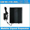 Усиления 70дб 2 Г/3 Г/4 Г Сотовый телефон Сигнал Повторителя GSM900MHz + UMTS 2100 МГц + LTE2600MHz Tri Band Усилитель с ЖК-дисплеем и AGC/MGC
