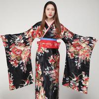 Hot Sale Printed Cosplay Costume Evening Dress Japanese Women Tradition Yukata Satin Kimono With Obi Flower Bath Robe Gown