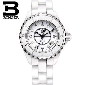 Genuine Luxury BINGER Women ceramic watch fashion ladies rhinestone diamond waterproof quartz dress table BBPS
