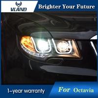 VLAND Head Lamp For Skoda Octavia Superb Led Headlights 2010 2012 DRL Hid Bi Xenon Lens angel eye low beam