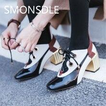 2018 Busana Musim Semi Musim Gugur Sepatu Wanita Renda Pompa Retro Kulit Asli Kaki Persegi Heels Persegi Wanita Sepatu Kasual Pompa