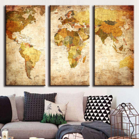 Hot Sell 3 Panel Vintage World Map Canvas Painting Oil Painting Print Home Decor On Wall