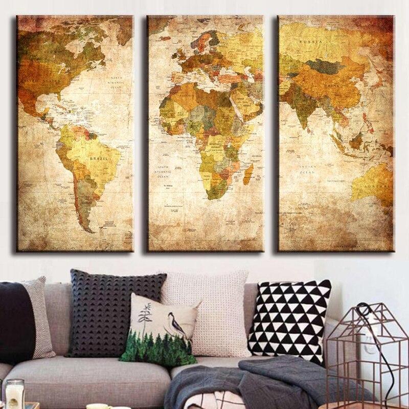 perfect latest awesome vente chaude panneau vintage carte du monde peinture sur toile peinture luhuile with triptyque maison du monde with toile maison du