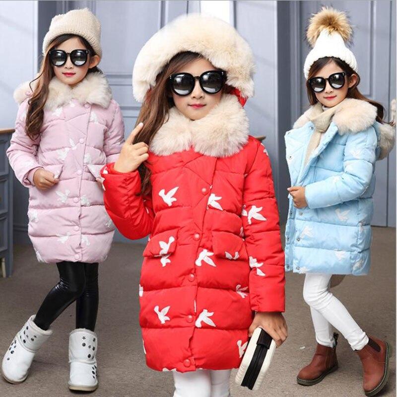 2018 autumn winter girls red blue pink jackets children cotton fur collar warm down jackets kids outwear &coat for girls xyf8831 girls kids autumn winter down jackets 80