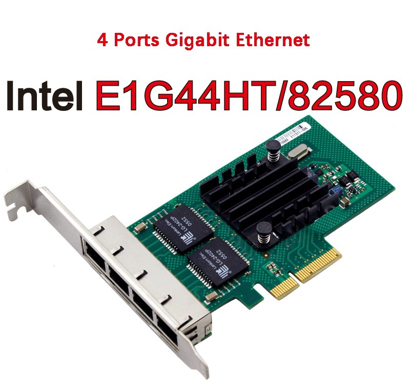 Hot Sale 82580EB E1G44HT Chip PCI Express PCI-E Gigabit Ethernet Server Small Network Card 1000Mbps LAN Controller Wired 4xRJ45 small motherboard computer cases server 1 rtl8111dl onboard nic gigabit lan wake on lan or wifi network
