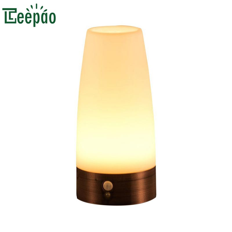 Antique Style Night Light Wireless Smart Motion Sensor LED Night Lights Battery Powered Table Lamp Smart Touch Sensitive Lights