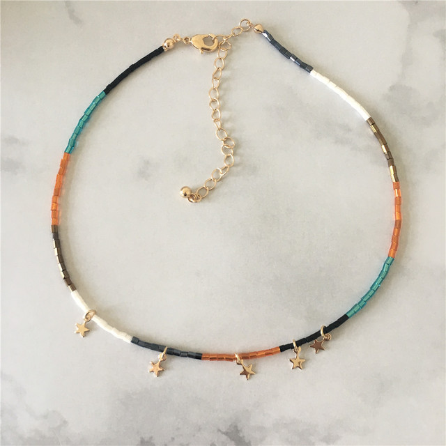 Colorful Bead Necklace With Small Star Charm 1