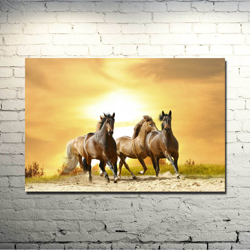 Horse Running Sunset Nature Animals Art Silk Poster Print 13x20 24x36 inch Nature Picture for Kids Home Decoration 053