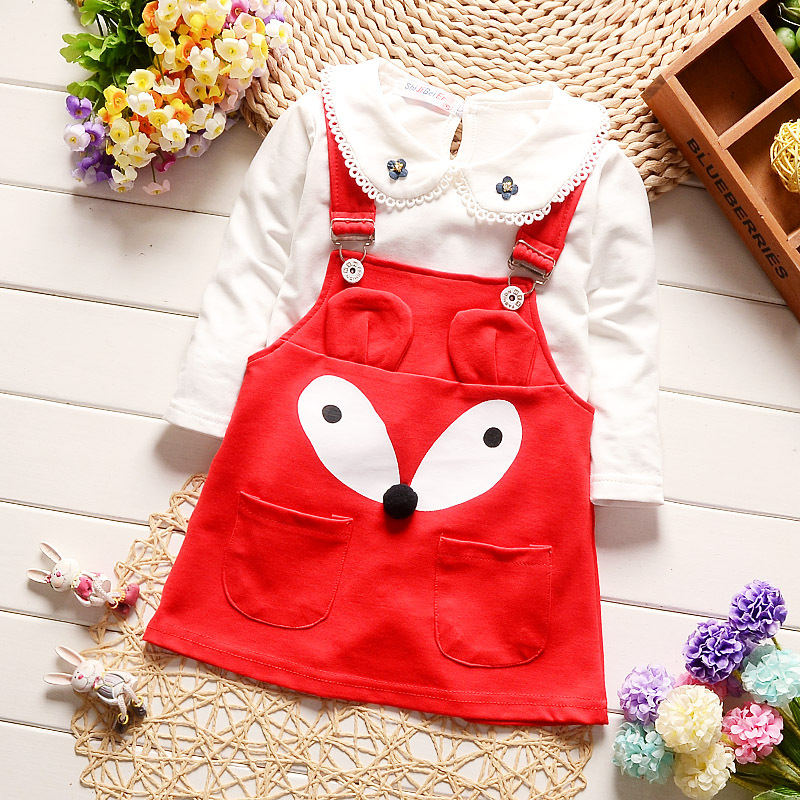 0-3 years old baby girl clothes set cute cartoon fox overall skirt long sleeve T-shirt girls spring toddler clothing outfits set цены онлайн