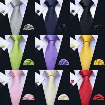 LS-5090 New Mens Ties 100% Silk Jacquard Woven 11 Colors Solid Ties For Men Wedding Business Party Barry.Wang 8.5cm Neck Tie Set