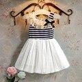 Novas Meninas Vestido De Verão Listrado Vestido de Renda Arco Menina Infantil Do Bebê Vestido de Princesa Criança Vestidos Sem Mangas Crianças Roupas de Festa JW1031