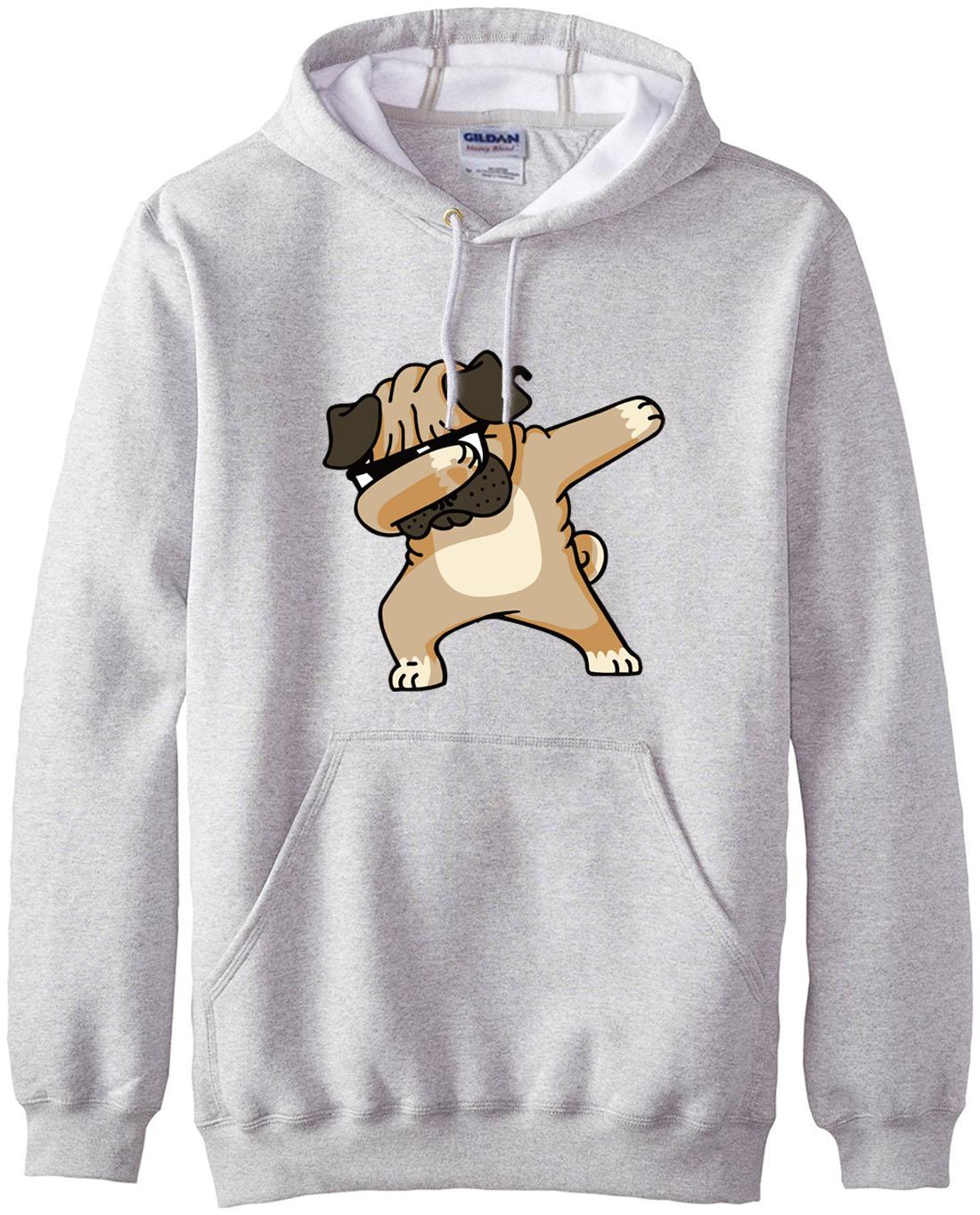 Animal Dabbing Pug Graphic Print Men's Hoodies  3