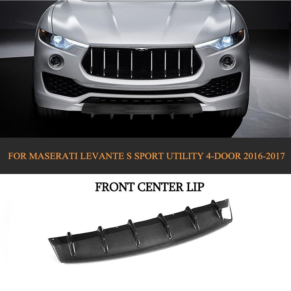 Углеродного волокна гоночный автомобиль бампер передний Lip для Maserati Levante 4 двери 2016 2017 Черный FRP