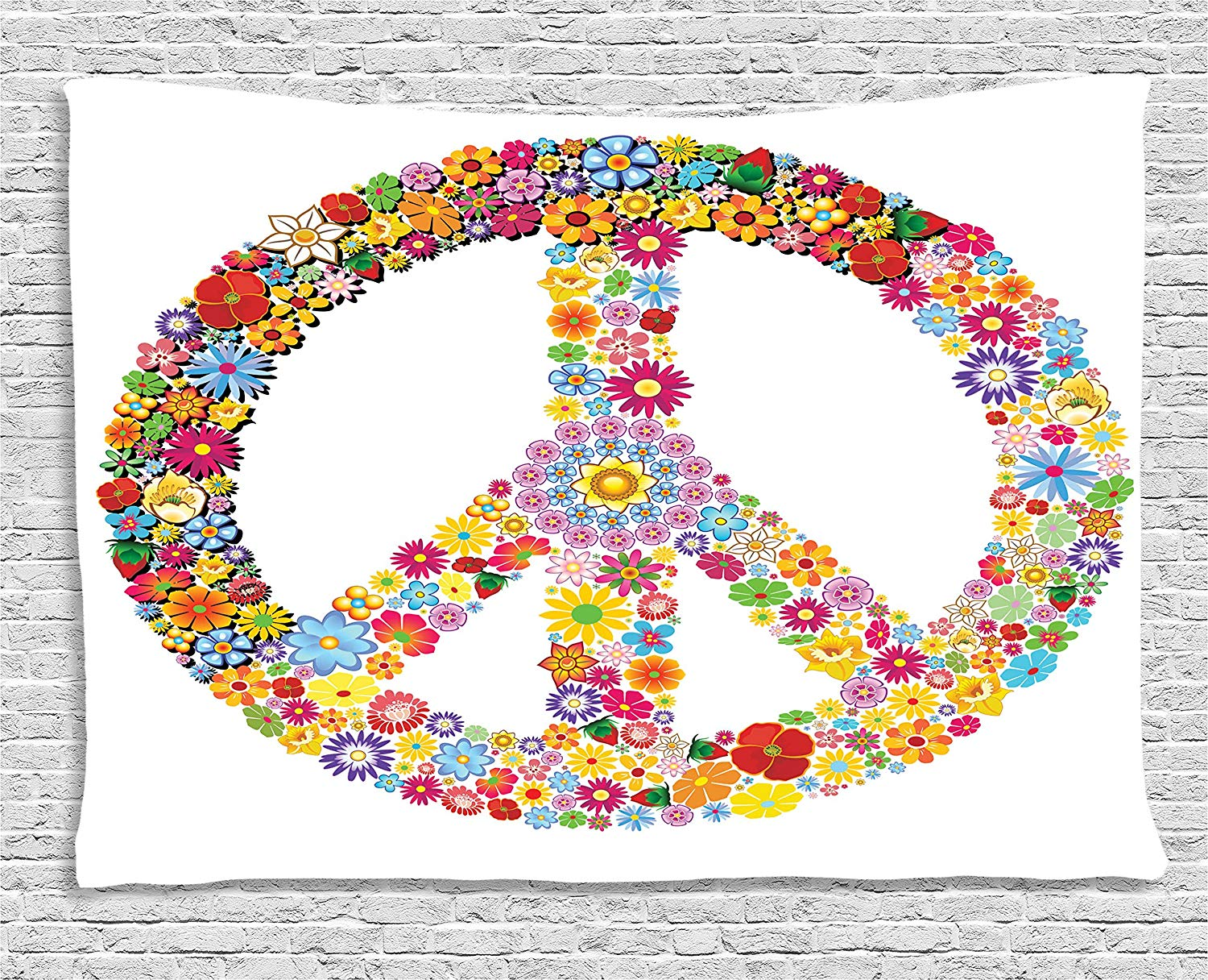 Peace Sign Bedroom Accessories: Groovy Decor Floral Peace Sign Summer Spring Blooms Love
