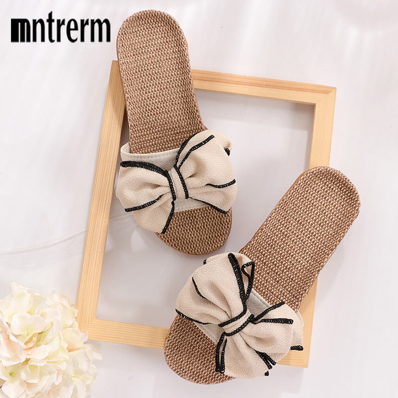 Mntrerm 2019 New Casual Sneakers For Home Slippers Summer Bow-knot Soft Floor Woman Indoor Flats Shoes Cute Linen Slipper Terlik(China)
