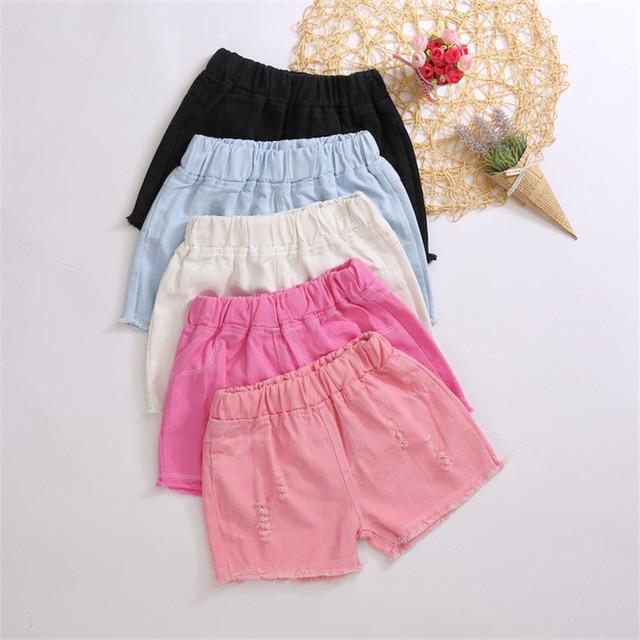 Baby Teenager Shorts Summer Denim Shorts For Girls White Pink Teens Girl Short Jeans 3 4 5 6 7 8 9 10 12 15 Years Old Kids 2